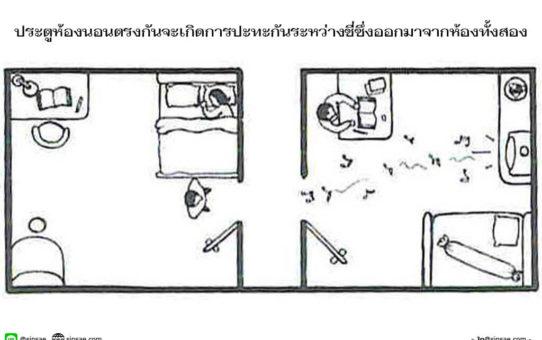 ประตูห้องนอนตรงกัน
